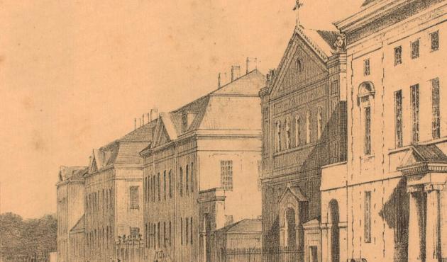 Kirurgisk Akademi (yderst th) i Bredgade ca. 1840. Længst tv. ses Frederiks Hospital.